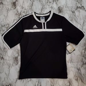 Adidas Women's V-Neck Athletic Shirt 3 Stripes Blk